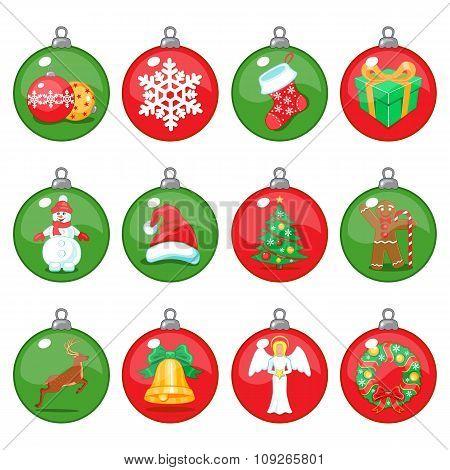 Christmas Balls Icons Set