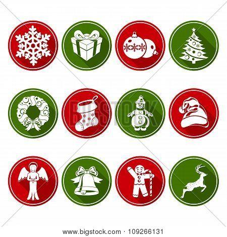 Round Christmas Icons Set