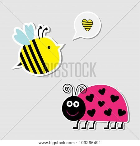Cute Cartoon Bee And Lady Bug. Card.