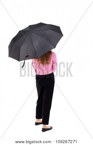 young woman under an umbrella. Rear view people collection.  backside view of person.  Isolated over white background. Woman office worker in a pink shirt hiding under an umbrella.