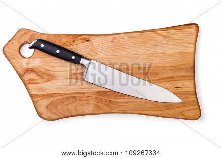 Knife on cutting board isolated on white