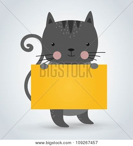 Cat pet animal holding clean welcome yellow board banner vector cartoon
