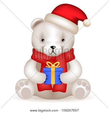 Realistic 3d Teddy Bear cub sit with new year gift isolated vector illustration