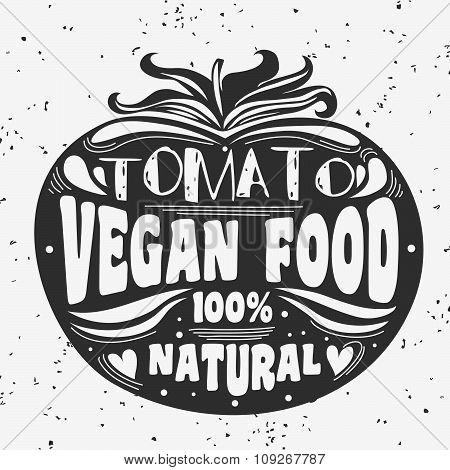 Vegan typographic print with tomato