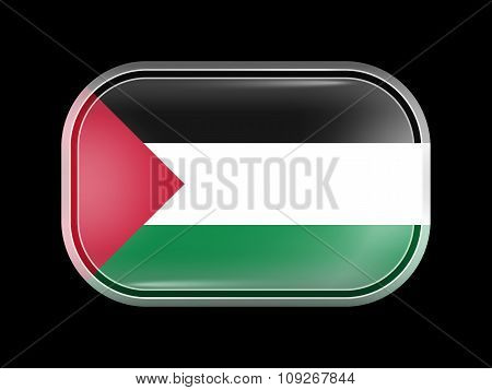 Flag Of Palestine. Rectangular Shape With Rounded Corners