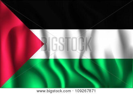 Flag Of Palestine. Rectangular Shape Icon