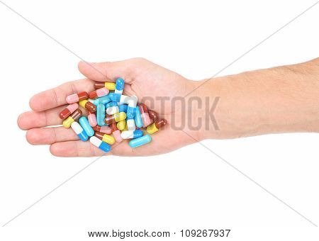 Hand With Medical Capsules