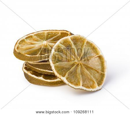 dried lemon isolated on white background