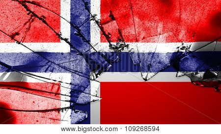 Flag of Norway, Norwegian flag painted on broken glass