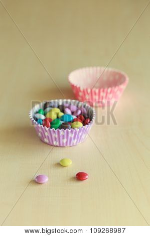 Sweet Color Candy On The Wooden Background