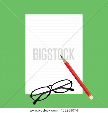 Top View Of Blank Paper With Line Red Pencil Green Desk Background With Glasses. Vector Illustration