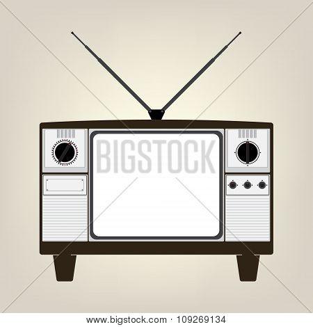 Vintage Old Television With Balnk Display No Signal. Vector Illustration In Flat Design.