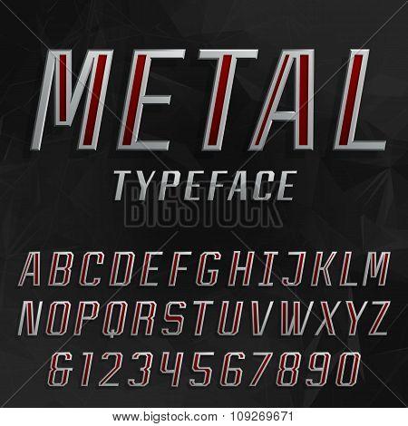 Metal alphabet vector bold font.