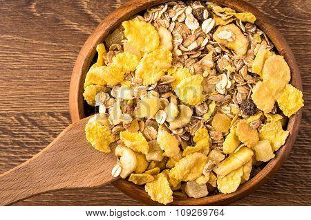 Corn Flakes And Oatmeal Muesli. Top View
