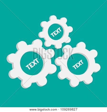 Abstract Gear And Cog Wheels. Template. Flat Design. Blue Backgr