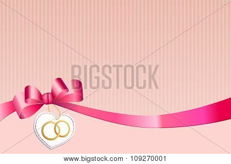 Abstract background strips white pink bow heart with wedding gold rings vector