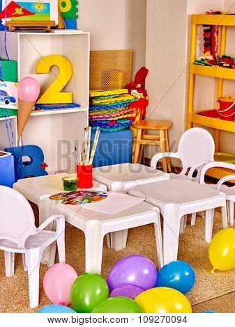 Interior of game room in preschool  kindergarten. No people.