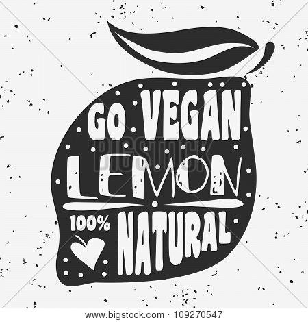 Vegan Typographic Print With Lemon.