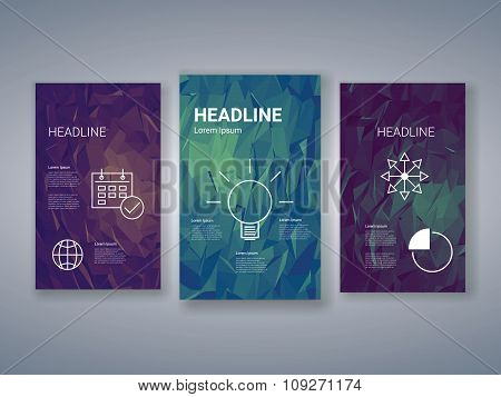 Low poly colorful background set with business charts, graphs, symbols. Presentation, brochure, info