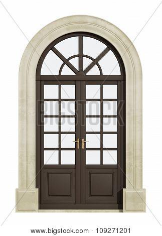 Balcony Arch Door On White