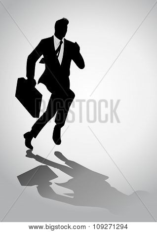 Silhouette illustration of a businessman running