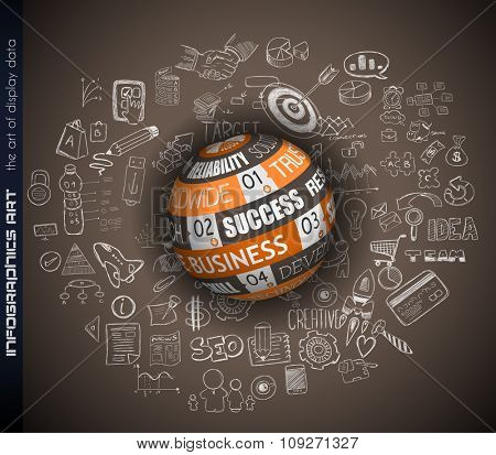 Success in Business conceptual background with a 3D Sphere and a tex message over an infographics hand drawn doodle sketches background.