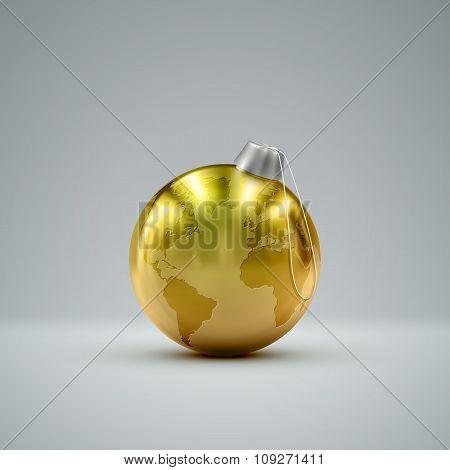 Christmas golden ball. Holiday vector illustration