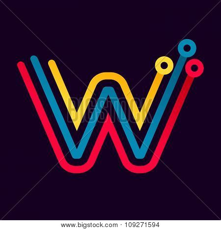 W Letter Formed By Electric Line.