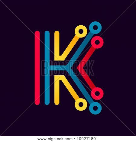 K Letter Formed By Electric Line.