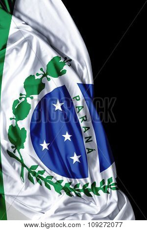 Parana waving flag on black background