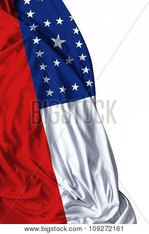 Amazonas waving flag on white background