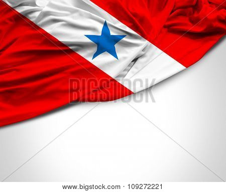 Belem do Para waving flag on white background