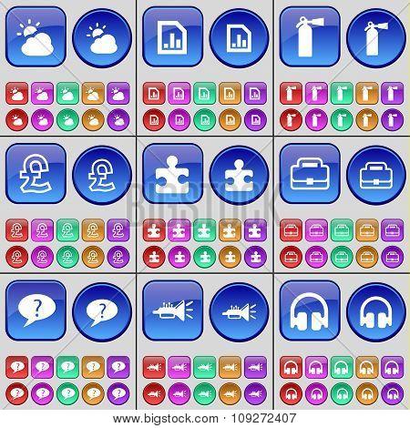 Cloud, Diagram File, Fire Extinguisher, Pound, Puzzle, Suitcase, Chat Bubble, Trumpet, Headphones.
