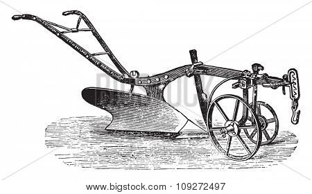 Technology of plow of Bajac-Delahaye, vintage engraved illustration. Industrial encyclopedia E.-O. Lami - 1875.