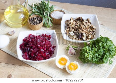 Ingredients for making salad with beets and walnut