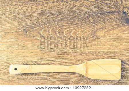 Wooden Paddle On The Board For The Background