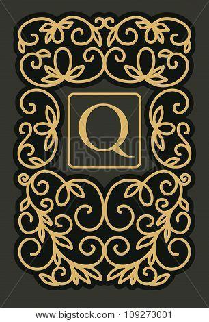 Vintage floral frame - monogram design