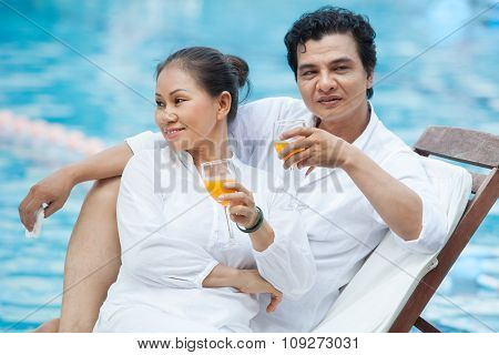 Enjoying fruit cocktails
