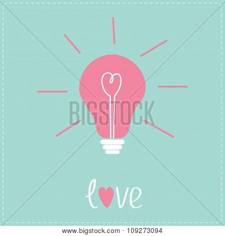 Light Bulb With Heart Inside. Idea Concept.  Love Card.