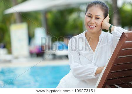 Resting at pool