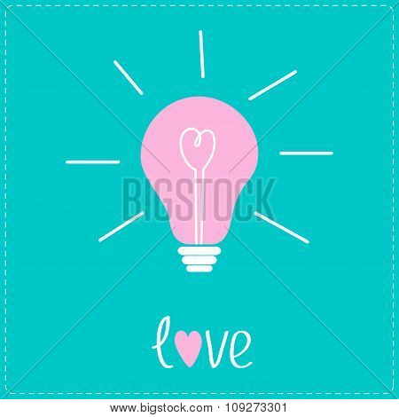 Pink Bulb With Heart Inside. Idea Concept.  Love Card.