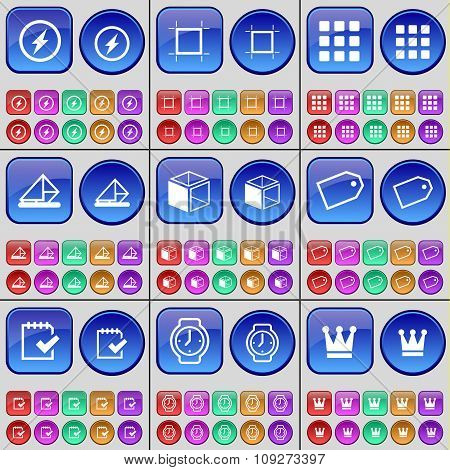 Flash, Frame, Apps, Message, Box, Tag, Survey, Wrist Watch, Crown. A Large Set Of Multi-colored