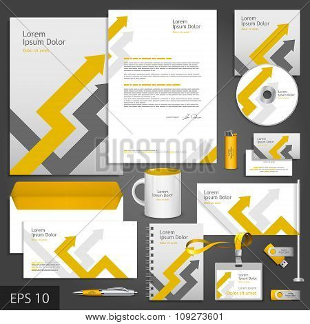 Gray corporate identity template with arrows