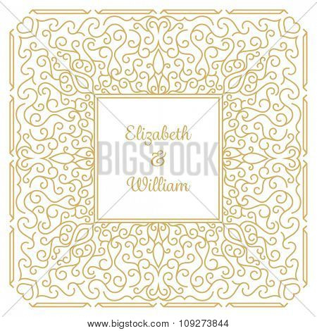 Wedding invitation template with floral ornaments and copy space for names. Vector illustration