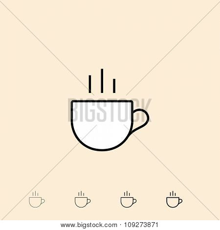 Cup of tee icon. Vector icon in four different thickness. Linear style