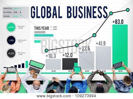 Global Business Data Analysis Statistics Concept