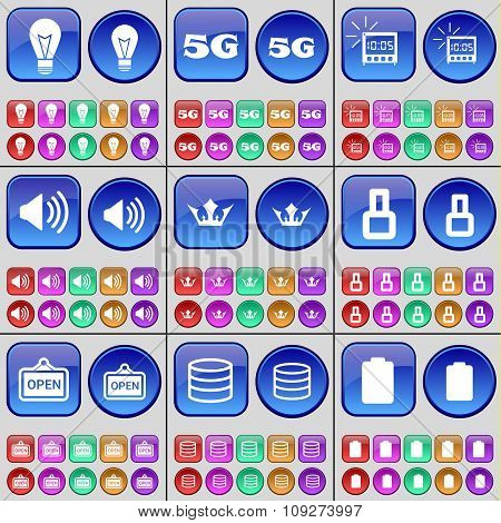 Light Bulb, 5G, Alarm Clock, Sound, Crown, Eight, Open, Database, Battery. A Large Set Of Multi-