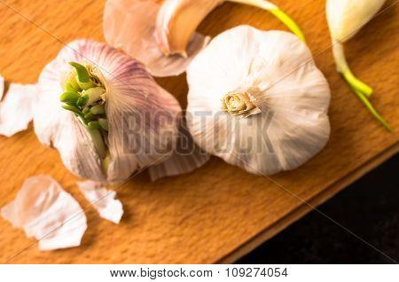 Two Fresh Garlic Clove Top View