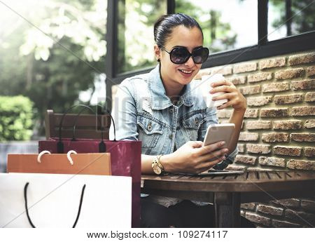 Woman Relaxation Coffee Cafe Shopping Bag Concept