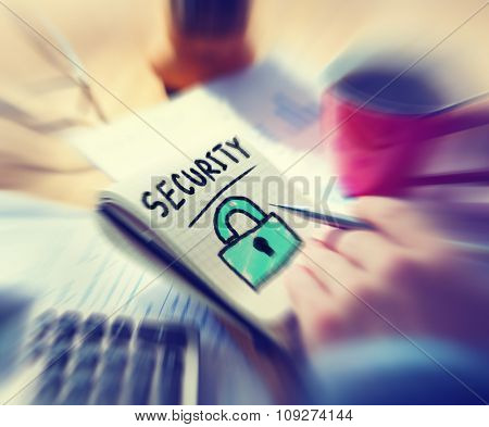 Businessman Working Security Privacy Concept